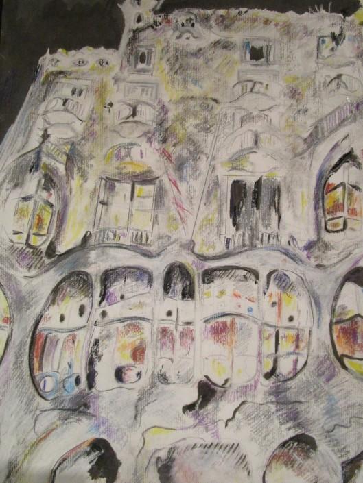 Gaudi house by night