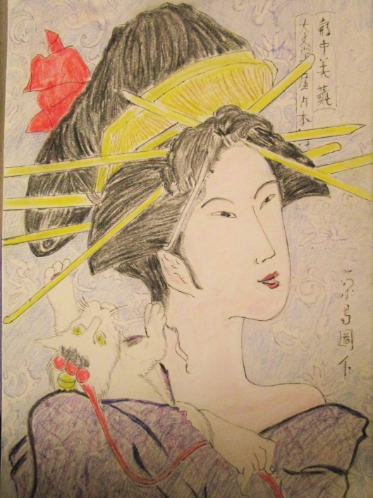 Geisha with chopsticks in hair