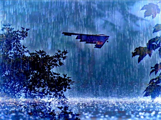 rainy stealth bomber